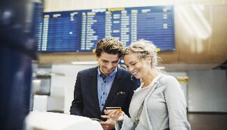 Man and woman at airport