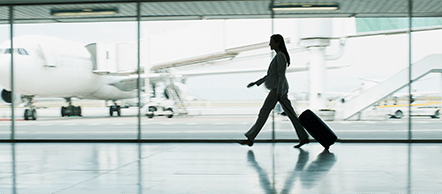 Woman walking in airport
