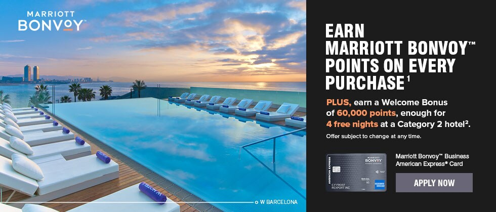 Earn Marriott Bonvoy™ points on every purchase¹. PLUS, earn a Welcome Bonus of 60,000 points, enough for 4 free nights at a Category 2 hotel². Marriott Bonvoy™ Business American Express® Card. Apply Now