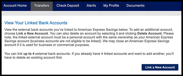 Link Account  American Express® Personal Savings
