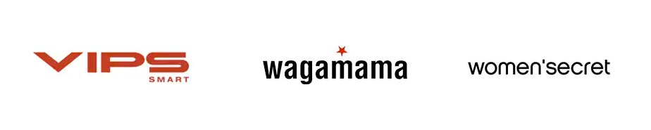 Logos de Vips Smart, Wagamama, Women's Secret