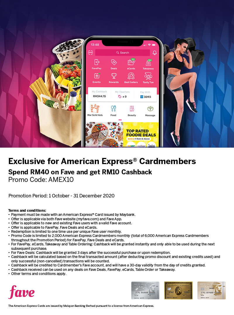 Enjoy RM10 Cashback with your American Express Cards