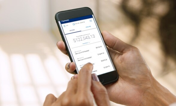 Amex Merchant app being used.