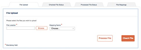 Step to step guide on uploading files on the American Express online portal.