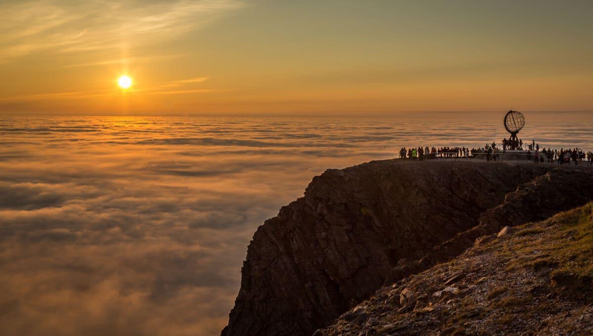 Das Nordkap bei Sonnenuntergang