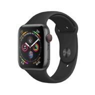 Apple Smart Watch Series 4 GPS 44 mm Aluminiumgehäuse Space Grau, mit Sportarmband Schwarz MU6D2FD/A