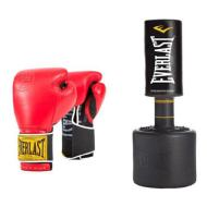 Everlast Freestanding Heavy Bag with Everlast Classic Training Gloves (red) 14oz