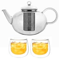 linkToText Grosche Cambridge Large Teapot with Infuser and Set of 2 Fresno Double Wall Glasses 280ml detailsPageText