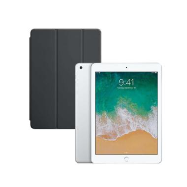 Apple iPad Wi-Fi (Silver) with iPad Smart Cover (Charcoal Gray)
