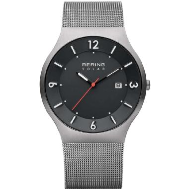 BERING Men's Solar Powered Watch with Mesh Band