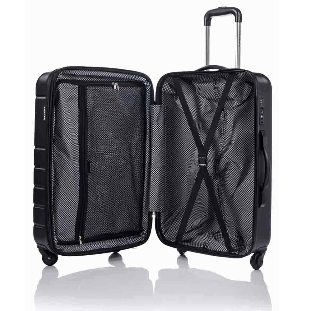 Champs Journey 3 Piece Hardside Luggage Set (Black)