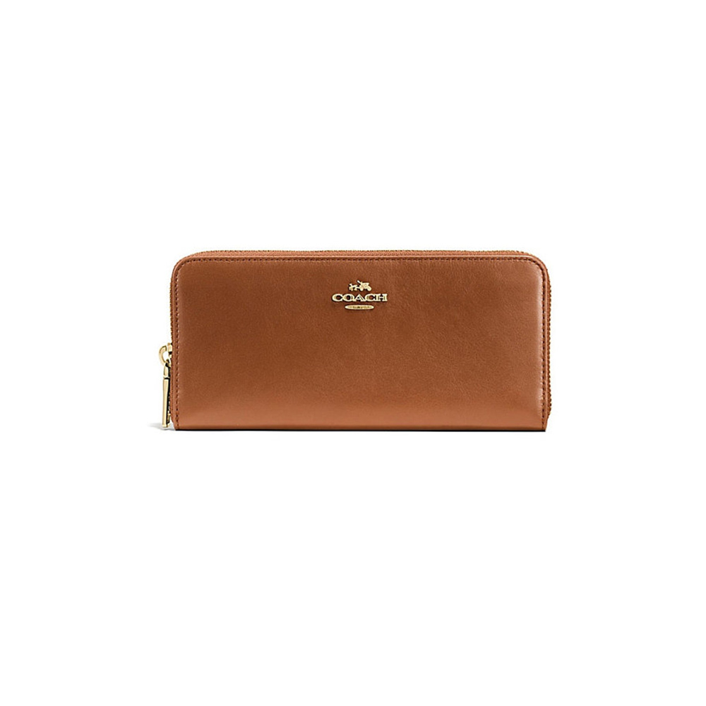 Coach Slim Accordion Zip Smooth Leather Wallet (Light Saddle)