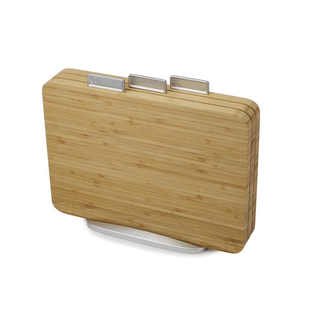 Joseph Joseph 3 Piece Index Bamboo Cutting Board Set with Metal Stand