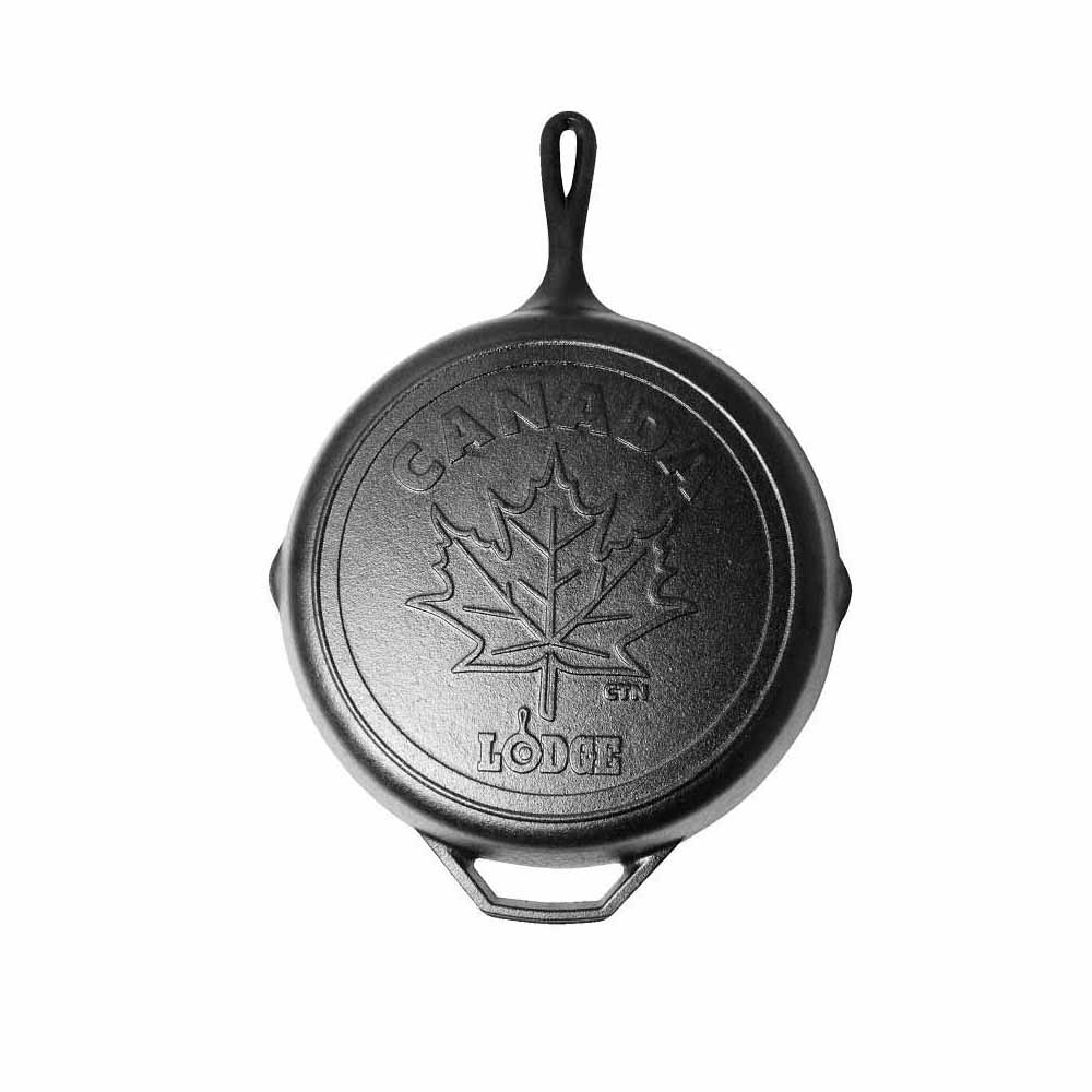 Lodge Canadiana Series 12 inch cast iron skillet with iconic maple leaf scene