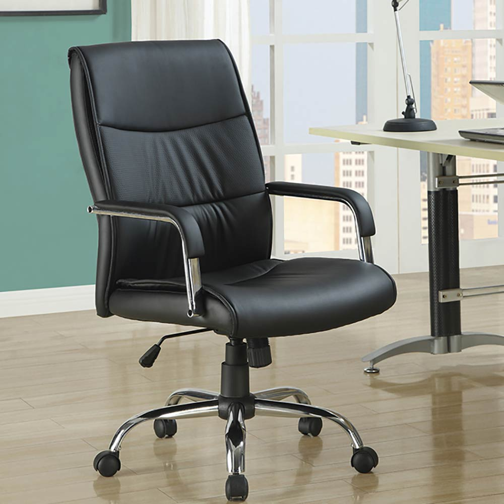 Monarch Leather-Look Office Chair (Black)
