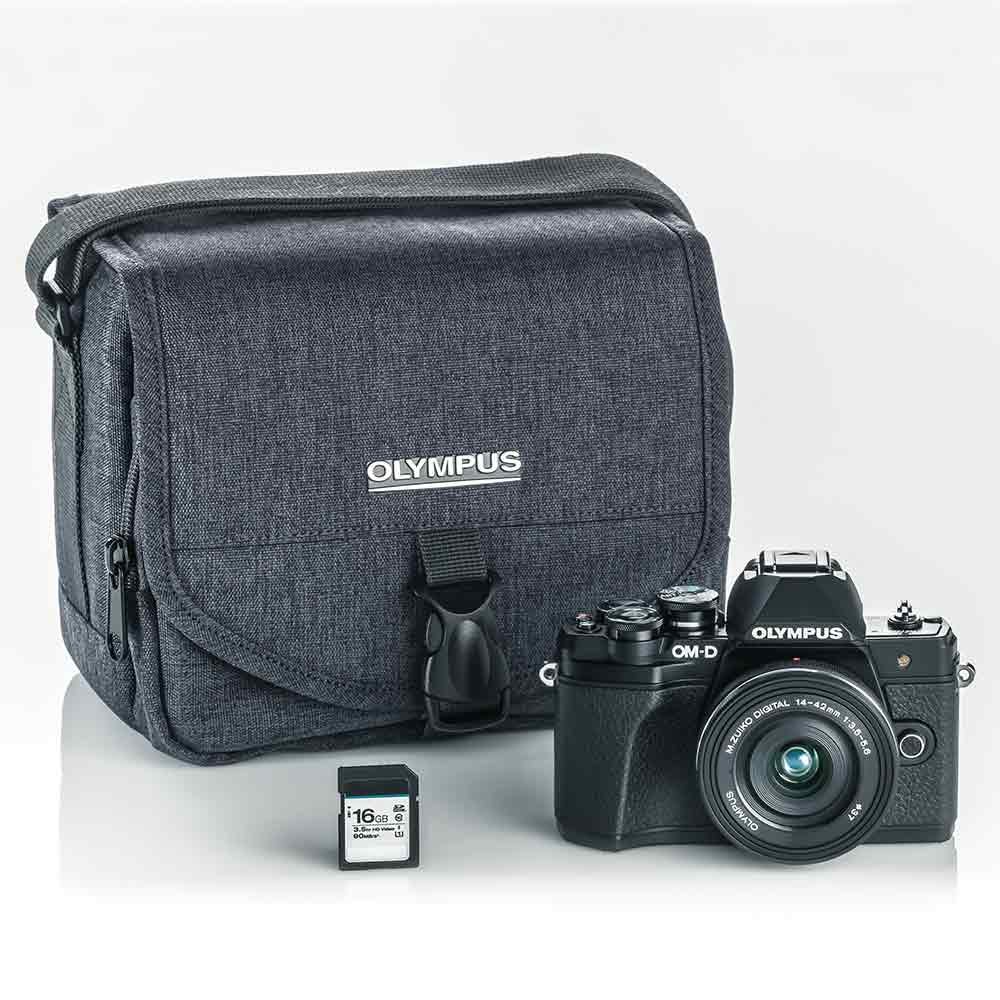 Olympus E-M10 Mark III Camera with 14-42mm EZ Lens Kit , Camera Bag, and 16GB SD Card-Black