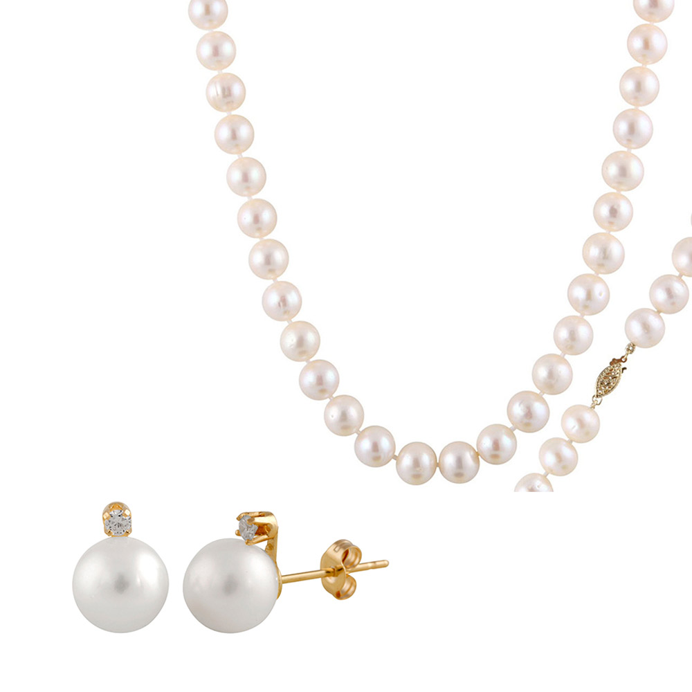 BELLA PEARLS 14K Gold 9-10mm Freshwater Pearl 45.7 cm Length Necklace with 14k Gold Security Clasp and BELLA PEARLS 14K Gold 7-7.5mm Freshwater Pearl Earrings With .05CT Diamond Accents (WHITE)