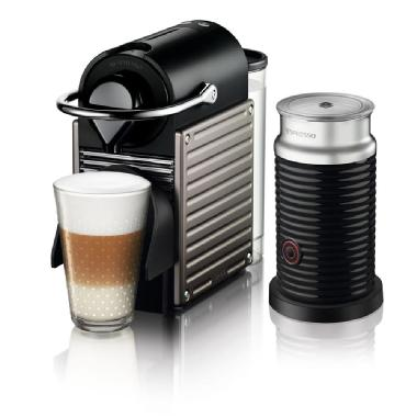 Nespresso Pixie Coffee Machine by Breville with Aeroccino Milk Frother (Titan)