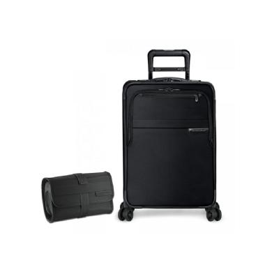 Briggs & Riley Baseline Domestic Carry-On Expandable Spinner & Toiletry Kit Set (Black)