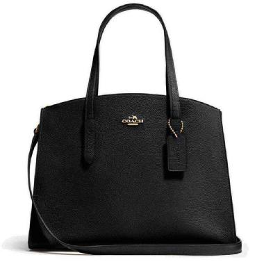 Coach Charlie Carryall Polished Pebble Leather (Black/Light Gold)
