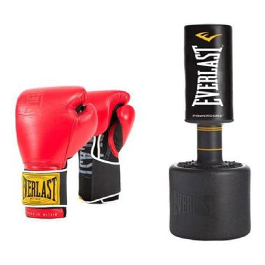 Everlast PowerCore Freestanding Heavy Bag with Everlast Classic Training Gloves (red) 14oz