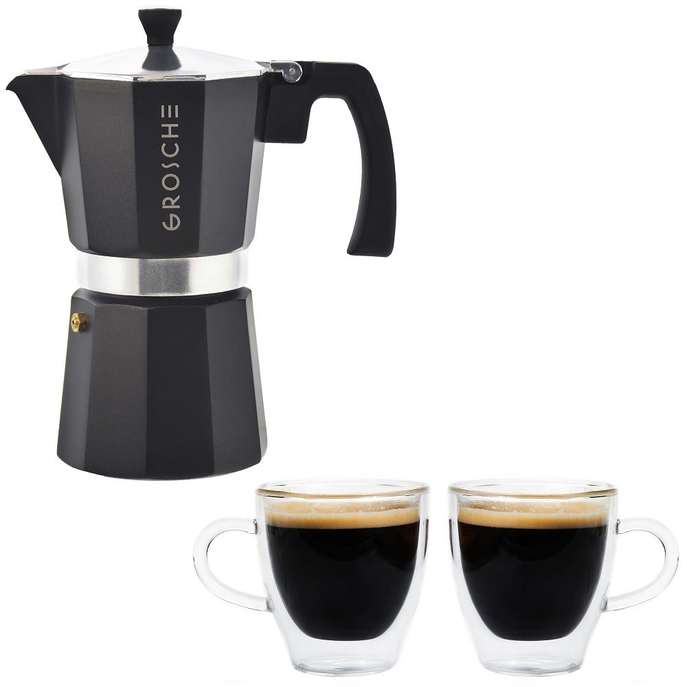 Grosche Milano Stovetop Espresso Maker 6 cup (Black) with Set of 2 Turin Double Walled  Espresso Cups 70ml, 2 fl. Oz