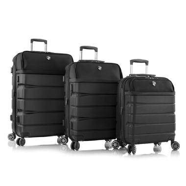 Heys Charge-A-Weigh 3 Pce Luggage Set (Black)