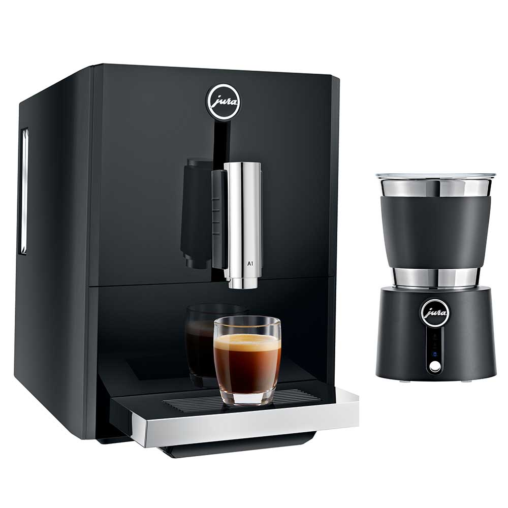 JURA A1 Automatic Coffee Machine Piano Black with Jura Milk Frother