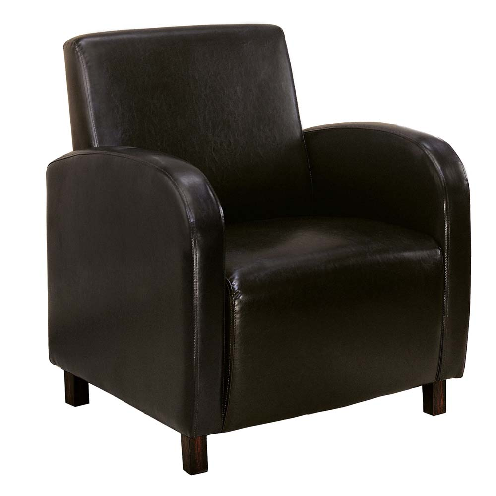 Monarch Leather-Look Accent Chair (Dark Brown)