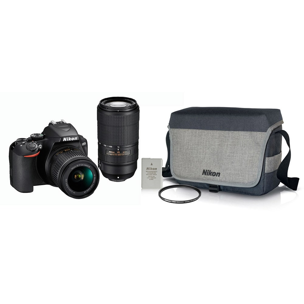 Nikon D3500 DSLR Camera with Dual Lens 18-55mm Lens, 70-300mm Lens, Canvas Bag, Rechargeable Battery &  55mm Screw-on NC Filter