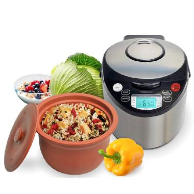 VitaClay<sup>®</sup> 5-in-1 Smart Organic Multi-Cooker/ Slow Cooker/ Steamer/Rice Cooker/ Yogurt Maker - 6 Cup
