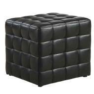 Monarch Tufted Leather-Look Ottoman (Black)