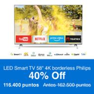 "Philips LED Smart TV 58"" 4K borderless"