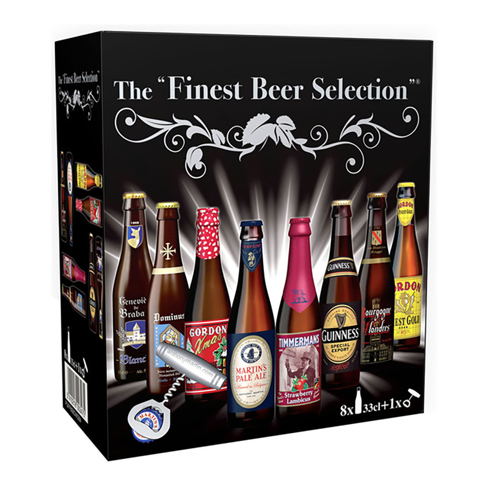 ESTUCHE DE 8 CERVEZAS THE FINEST BEER SELECTION + ABRIDOR DE BOTELLAS
